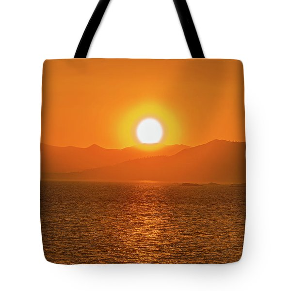 The Smoke From A Forest Fire Gave Us This Tangerine Sky Over 11-mile Reservoir State Park, Colorado. Tote Bag