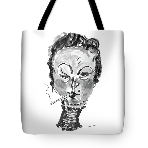 Tote Bag featuring the mixed media The Smoker - Black And White by Marian Voicu