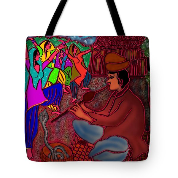 Tote Bag featuring the digital art The Snake Charmer by Latha Gokuldas Panicker