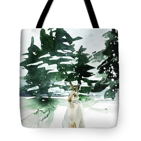 Tote Bag featuring the painting The Snow Bunny by Colleen Taylor