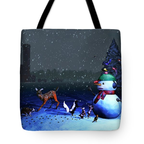 The Snowman's Visitors Tote Bag