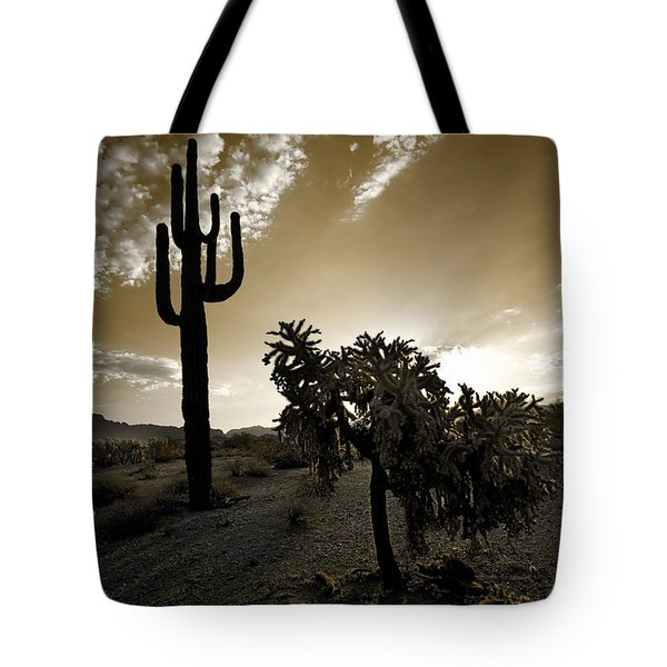 The Sonoran In Sepia Tote Bag by Sue Cullumber