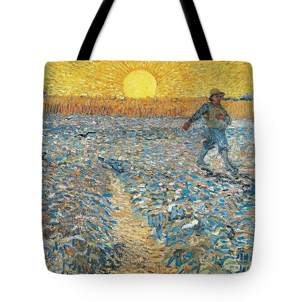 Tote Bag featuring the painting 		The Sower by Vincent van Gogh