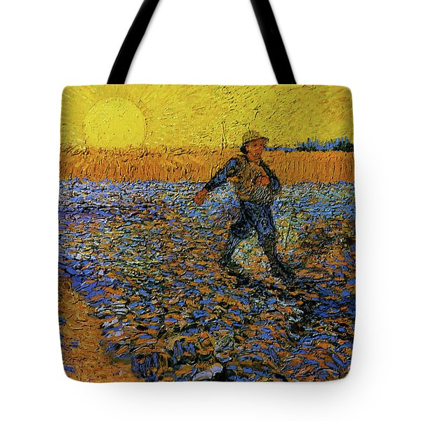 Tote Bag featuring the painting The Sower by Van Gogh