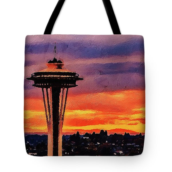 Tote Bag featuring the digital art The Space Needle by PixBreak Art
