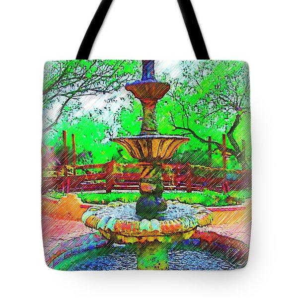The Spanish Courtyard Fountain Tote Bag
