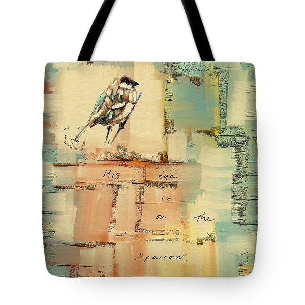 Tote Bag featuring the mixed media The Sparrow by Carrie Joy Byrnes
