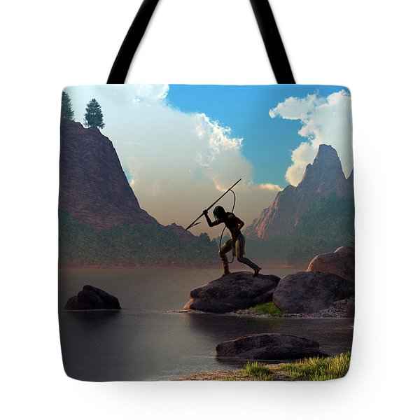Tote Bag featuring the digital art The Spear Fisher by Daniel Eskridge