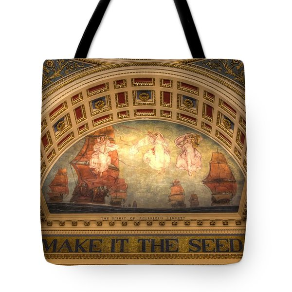 Tote Bag featuring the photograph The Spirit Of Religious Liberty by Shelley Neff