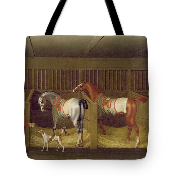 The Stables And Two Famous Running Horses Belonging To His Grace - The Duke Of Bolton Tote Bag by James Seymour