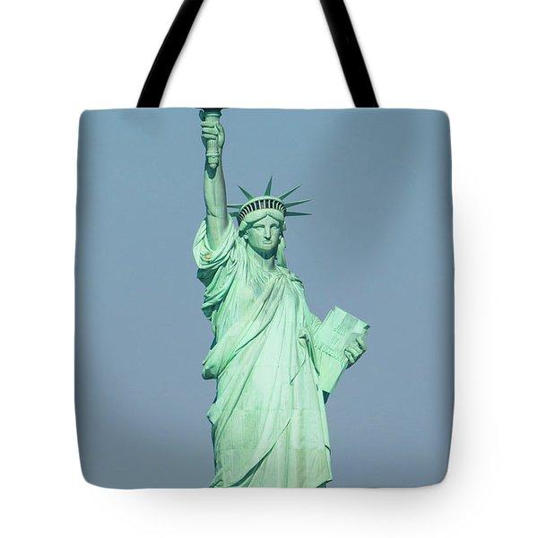 The Statue Of Liberty On Liberty Island In New York Harbor Tote Bag