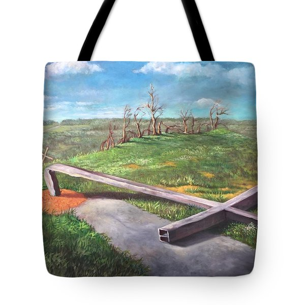 Millsfield Tennessee Steel Cross Tote Bag by Randy Burns