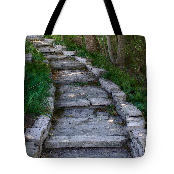 Tote Bag featuring the digital art The Steps by David Blank