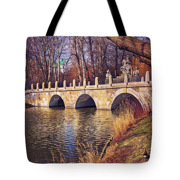 Tote Bag featuring the photograph The Stone Bridge In Lazienki Park Warsaw  by Carol Japp