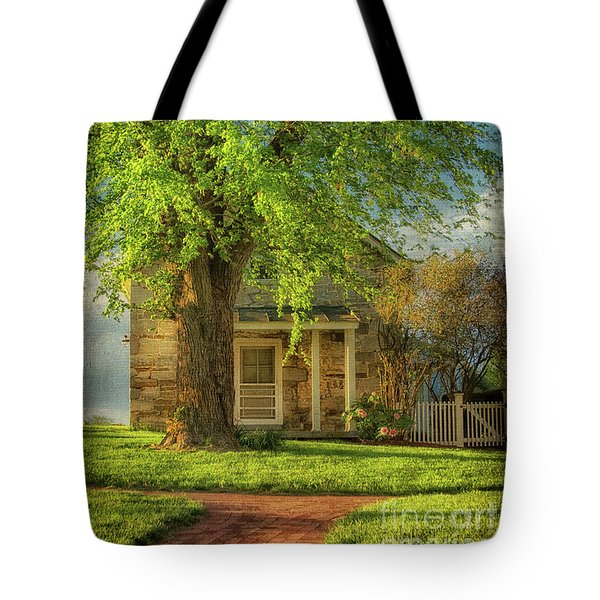 Tote Bag featuring the photograph The Stone Cottage On A Spring Evening by Lois Bryan