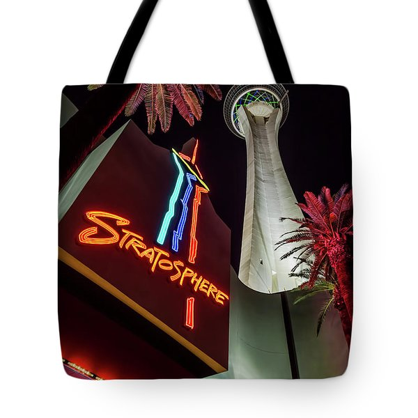 Tote Bag featuring the photograph The Stratosphere Tower Entrance by Aloha Art