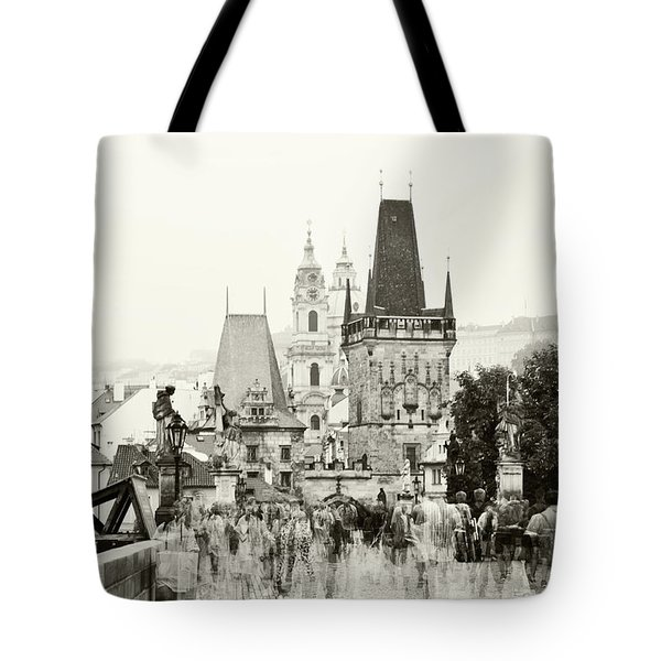 Tote Bag featuring the photograph The Stream Of People On Charles Bridge. Prague by Jenny Rainbow