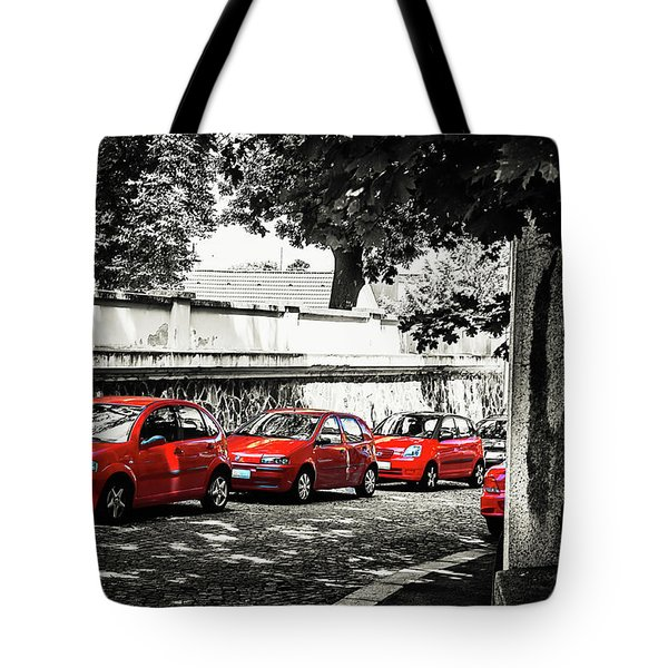 Tote Bag featuring the photograph The Street Of Red Cars by Jenny Rainbow