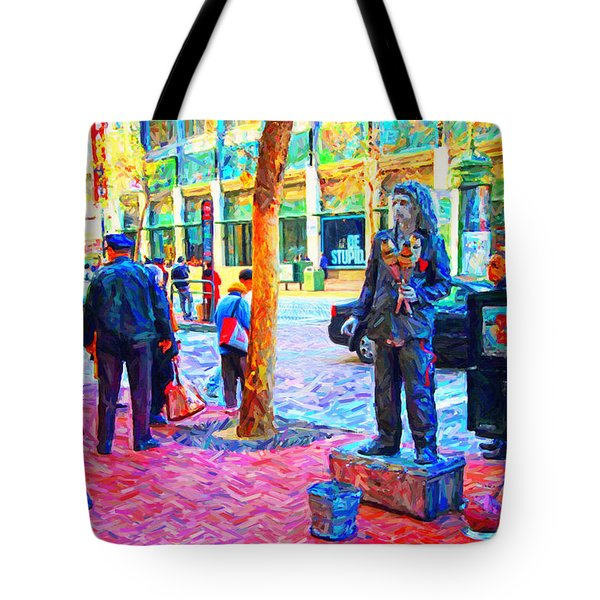 The Street Performer . Photo Artwork Tote Bag by Wingsdomain Art and Photography