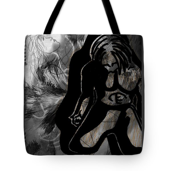 Tote Bag featuring the drawing The Struggle Within by Sheila Mcdonald