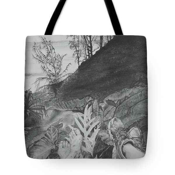 Tote Bag featuring the drawing The Summit by Jane Autry