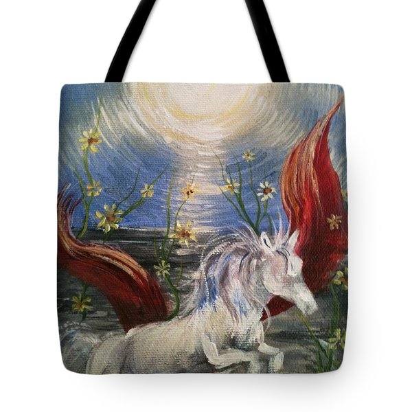 Tote Bag featuring the painting the Sun by Karen  Ferrand Carroll