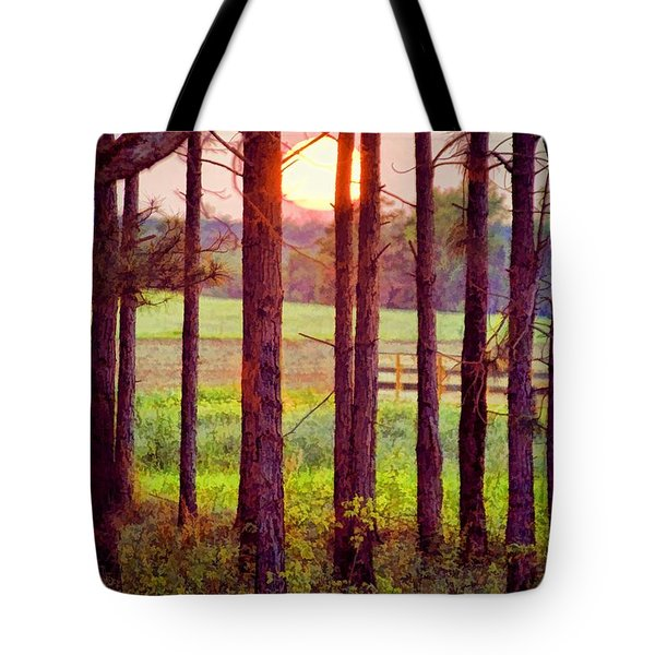 Tote Bag featuring the photograph The Sun Pines Away by Jan Amiss Photography