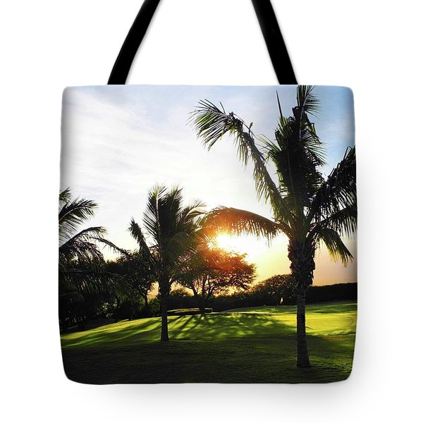 The Sun Rising Behind Haleakala Tote Bag