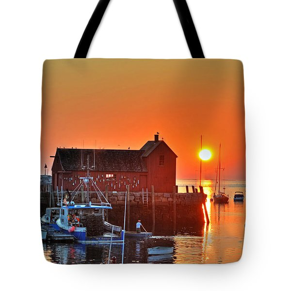 The Sun Rising By Motif Number 1 In Rockport Ma Bearskin Neck Tote Bag