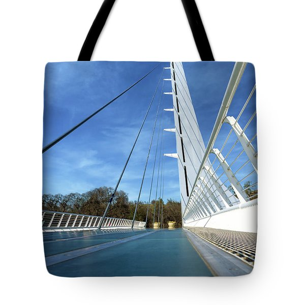 Tote Bag featuring the photograph The Sundial Bridge by James Eddy