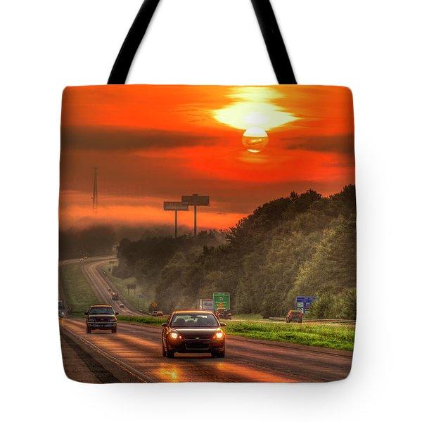 The Sunrise Commute Georgia Interstate 20 Art Tote Bag