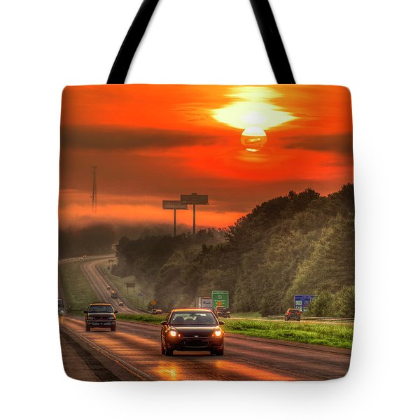 The Sunrise Commute Georgia Interstate 20 Art Tote Bag