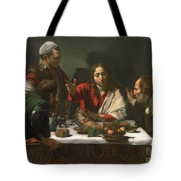 The Supper At Emmaus Tote Bag by Caravaggio