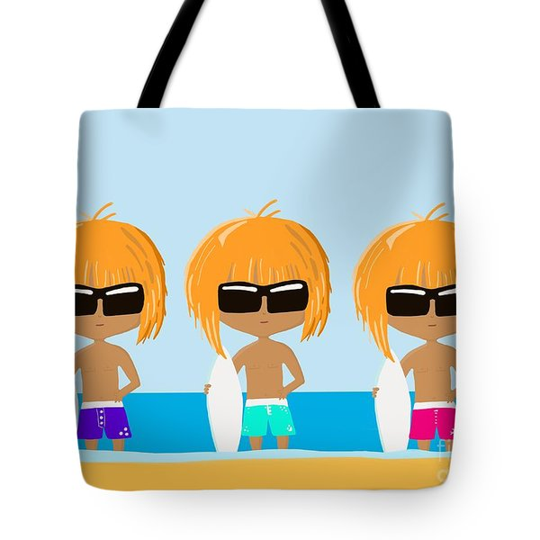The Surfing Triplets Tote Bag