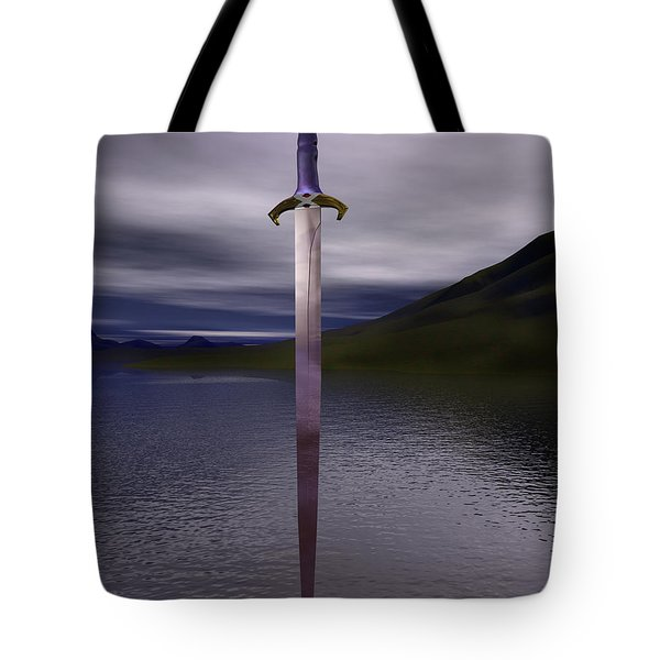 The Sword Excalibur On The Lake Tote Bag