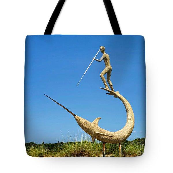The Swordfish Harpooner Tote Bag by Mark Miller