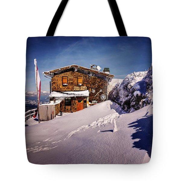 The Tavern On Untersberg Mountain Salzburg In Winter Tote Bag