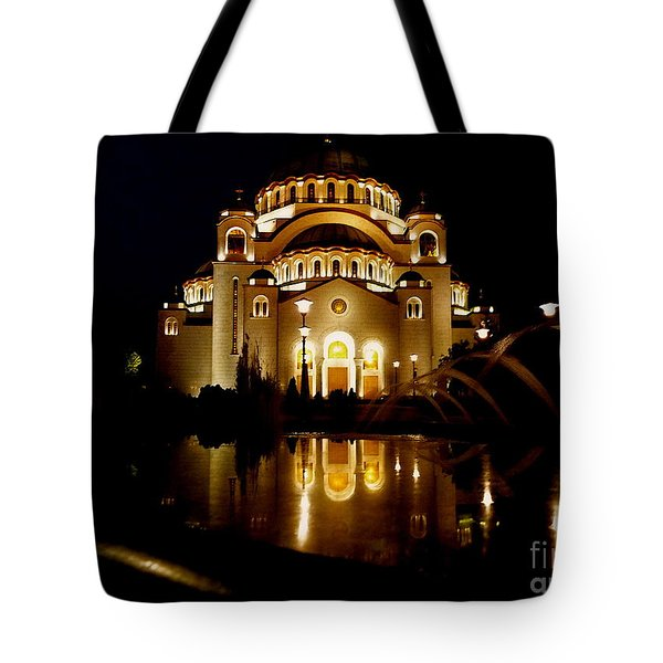 Tote Bag featuring the photograph The Temple Of Saint Sava In Belgrade  by Danica Radman