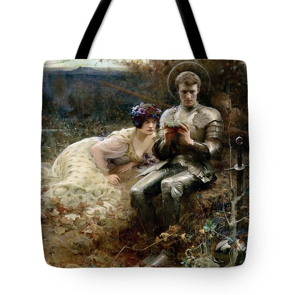 The Temptation Of Sir Percival Tote Bag by Arthur Hacker
