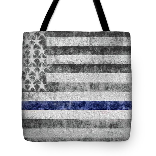 Tote Bag featuring the digital art The Thin Blue Line American Flag by JC Findley