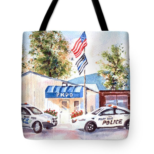 Tote Bag featuring the painting The Thin Blue Line by Kip DeVore