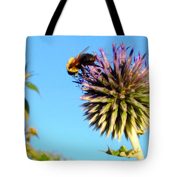 Tote Bag featuring the photograph The Thistle And The Bee. by Roger Bester