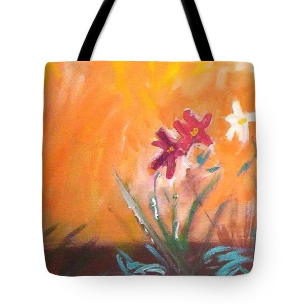 Tote Bag featuring the painting The Three Daisies by Winsome Gunning