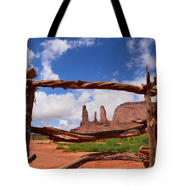 Tote Bag featuring the photograph The Three Sisters Framed - Arizona by Dany Lison