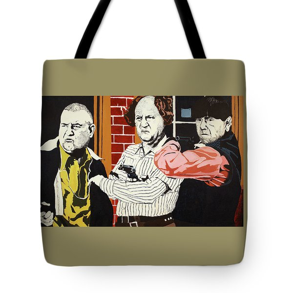 Tote Bag featuring the painting The Three Stooges by Thomas Blood
