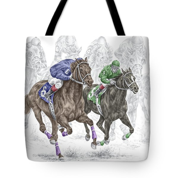 The Thunder Of Hooves - Horse Racing Print Color Tote Bag