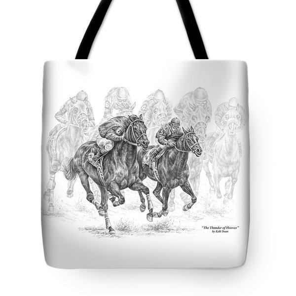The Thunder Of Hooves - Horse Racing Print Tote Bag