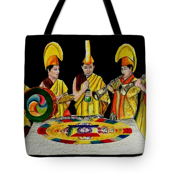 Tote Bag featuring the drawing The Tibetan Monks At Lilydale Assembly by Albert Puskaric