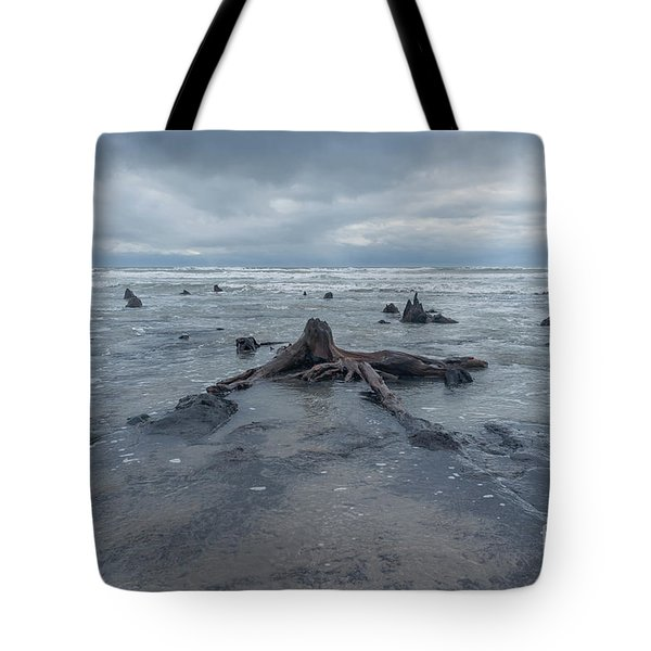 The Tide Comes In Over The Bronze Age Sunken Forest At Borth On The West Wales Coast Uk Tote Bag