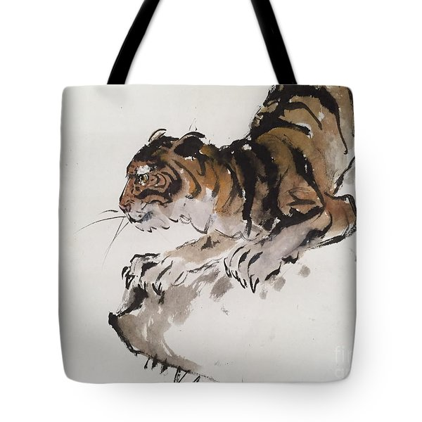 The Tiger At Rest Tote Bag by Fereshteh Stoecklein